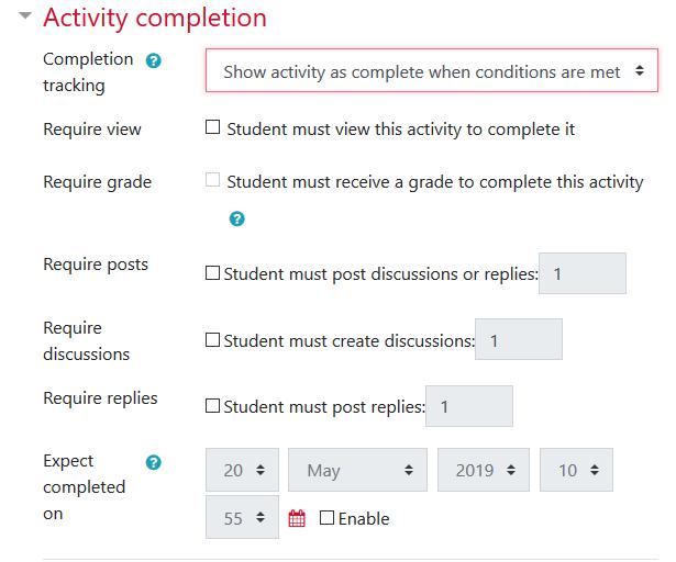 Activity completation options